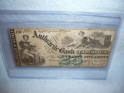 anthracite bank tamaqua pa  25 Cent  Fractional Currency Note  1862