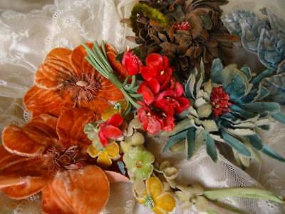 Exquisite Collection Beautiful French Timeworn Vintage/Antique Velvet Flowers