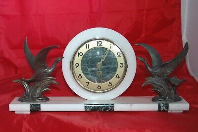 Antique Deco French Marble Mantle Clock With Key.working.
