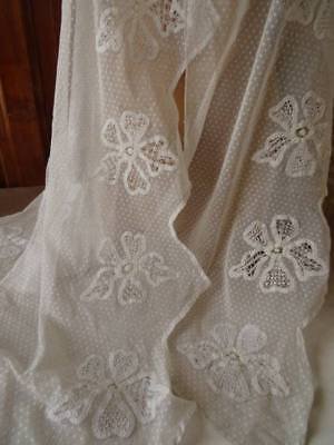 Two Charming Antique French Lace Curtain Pelmets C.1910