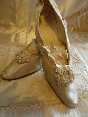 Charming Pair of Antique Timeworn Silk Wedding Shoes Ribbon Rosettes C.1910/15