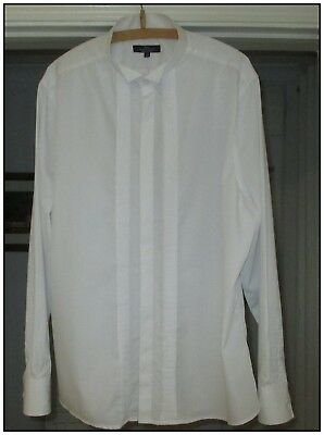 MENS WHITE DRESS SHIRT BY TAILOR & CUTTER. WING COLLAR. 17.5in. TUXEDO, WEDDING.
