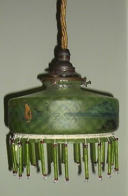 Original French Irridescent Hanging Light With Shade