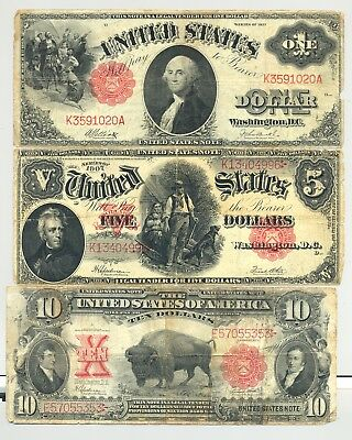 $10 1901 Bison, $5 1907 Woodchopper, $1 1917 United States Notes nice quality