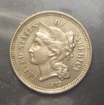 1873 3 Cent Nickel, Open 3 Variety, Great Details, Graded Au