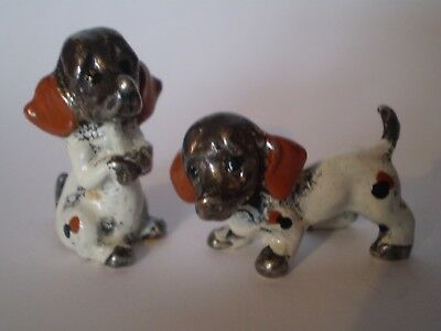 Rare Hallmarked Arg 1000 Italian Silver Plated & Enamel Miniature Puppies Figure