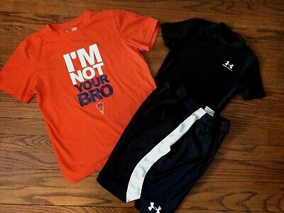 Lot of Boys Under Armour Shirts & Under Armour Shorts Size YLG 14
