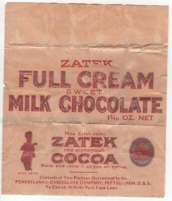 Paper Candy Bar Wrapper Zatek Full Cream Milk Chocolate Cocoa Pure Food Laws