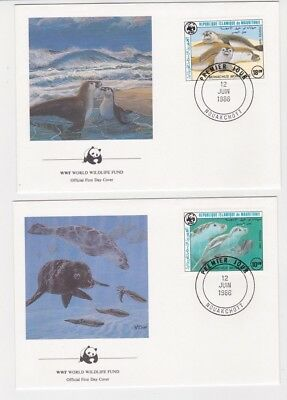 1986 Mauritania WWF Endangered Species SG 846/9 Set four FDC or Fine Used