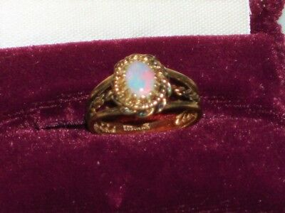 Vintage 10Kt Yellow Gold Opal Ring Fancy Mounting Marked Ebson 10K Nice Fire!