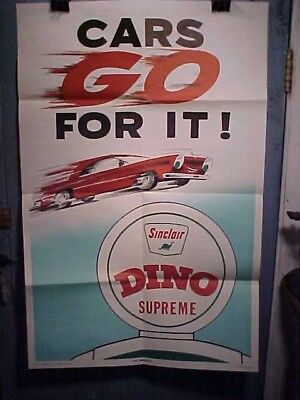 Orig UNUSED 1950s SINCLAIR DINO Gasoline GAS STATION Advertising POSTER 42 x 28