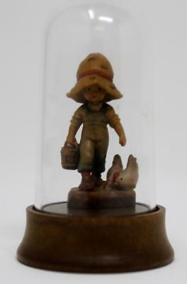 ANRI Wood Carved Figure Morning Chores Miniature with Display Dome