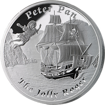 2014 $1 Tuvalu -PETER PAN JOLLY ROGER 1 oz .999 Proof Silver Coin - Low COA