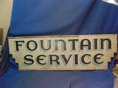 1930s FOUNTAIN SERVICE + DRUGS Hand PAINTED Wood 2 Sided ADVERTISING SIGN