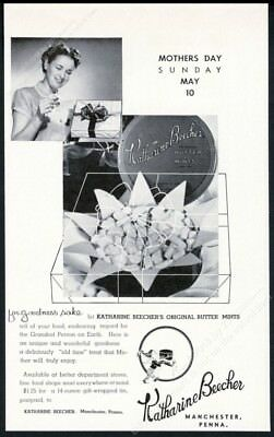 1953 Katharine Beecher butter mints candy Mother's Day theme vintage print ad