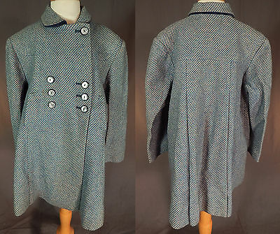 Vintage 50s Girls English Blue Pink Tweed Wool Double Breasted Childs Swing Coat
