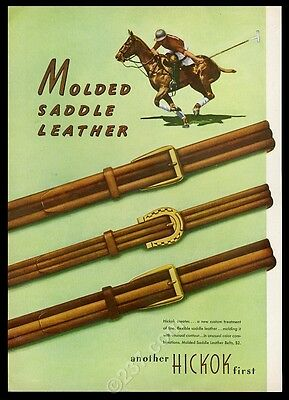 1946 Hickock saddle leather men's belt 3 styles polo player pony horse print ad