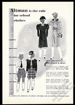 1933 girl and boy school clothes illustrated B. Altman NYC vintage print ad