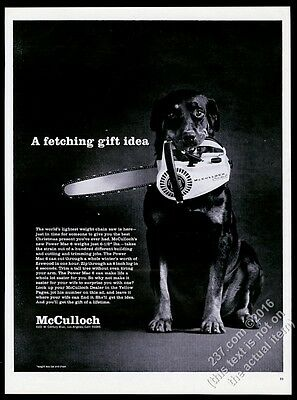 1968 Rottweiler photo McCulloch chainsaw chain saw vintage print ad