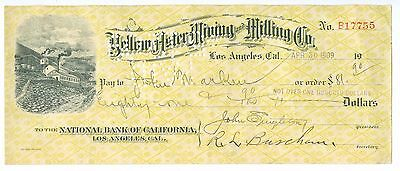April 30, 1909 Yellow Aster Mining & Milling Co. Check, Los Angeles, California