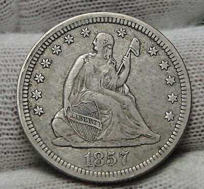 1857 Seated Liberty Quarter 25 Cents . Nice Coin, Free Shipping (5339)