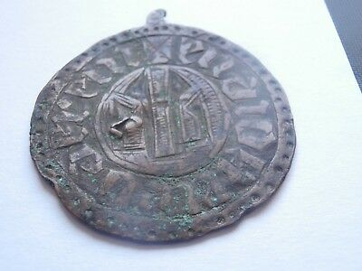 Authentic old medieval copper or bronze amulet  medaillon dark ages ,RARE !