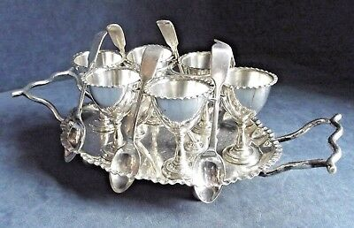 SUPERB Large ~ SILVER Plated ~ 13 Piece ~ EGG Cup Breakfast SET ~ c1900