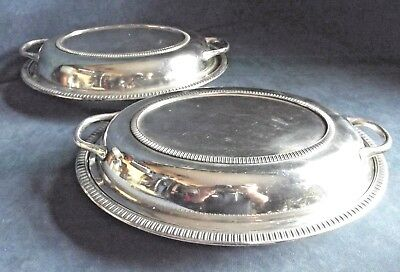 """SUPERB Pair 12"""" ~ SILVER Plated ~SERVING DISHES ~ c1920 by Kayser & Ellison"""