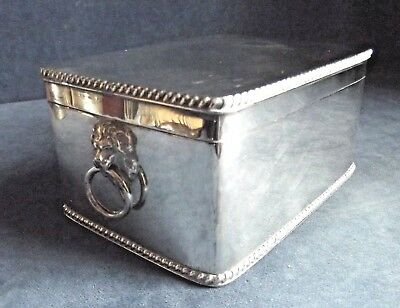 SUPERB Large ~ SILVER Plate ~ LIONS Head ~ BISCUIT BOX ~ c1900 ~ Goldsmiths & Co