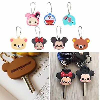 Cute Cartoon Silicone Key Cover Cap Keychain Key Ring Top Head PVC Key Case