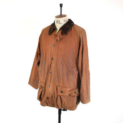 Men's BARBOUR BEAUFORT Tan WAXED COTTON Racing Motorcycle Biker Jacket 42