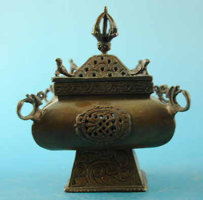 chinese old copper Hand carving bird hollow out incense burner