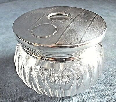 SUPERB Large ~ ART DECO ~ Solid SILVER Topped ~ 'Hair' JAR ~ 1930s
