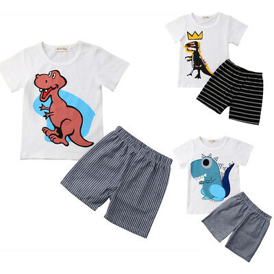 1-7T Kids Clothing Sets Cotton Toddler Boys Dinosaur Outfit T-shirt Top + Shorts