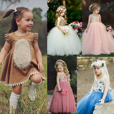 Pageant Flower Girl Dress Kids Wedding Bridesmaid Gown Formal Long Maxi Dresses
