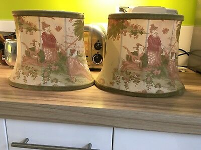 Pair Of Shabby Chic Chinoiserie Vintage Lampshades