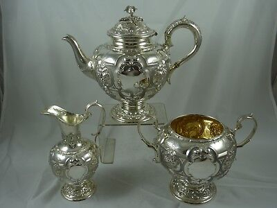 VERY LARGE, solid silver VICTORIAN TEA SET, 1865, 1625gm