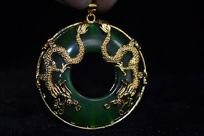 chinese Style wonder Old green Jade handwork  dragon Delicate Noble Pendant