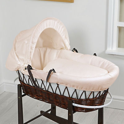 New 4Baby Waffle Cream Deluxe Padded Dark Wicker Moses Basket & Safety Mattress