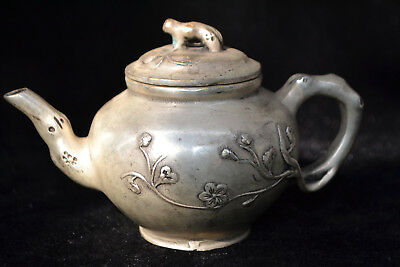chinese Culture Style Old Tibet Silver relief flower Totem good handwork Teapot