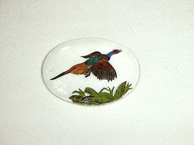 Unmounted Essex Crystal Glass Cabochon ~ Reverse Painted Flying Pheasant Design