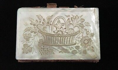 Antique MOP Writing Card Needle Case Carved Cassandra Victorian