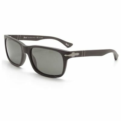 Persol PO3048S 9000/58 Sunglasses Matte Black Frame Crystal Grey Polarized Lens