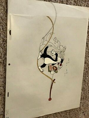 Classic Warner Bros Sylvester The Cat Animation Cel W/drawing Production Art