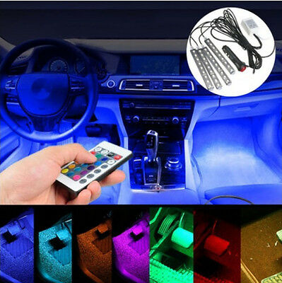 4pcs 9 LED RGB Strip 7Colors Remote Control Car Interior Floor Atmosphere Light