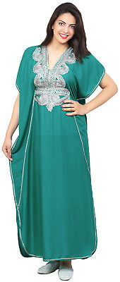 Moroccan Caftan Women kaftan Abaya Beach Cover Summer Long Dress Cotton Teal