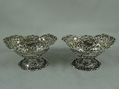 PRETTY pair VICTORIAN silver SALTS, 1894, 87gm