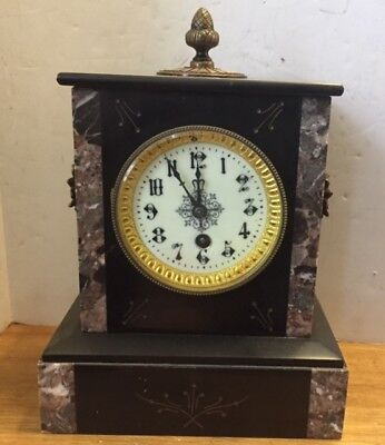Antique 2 tone Marble Mantel Clock  ( 8 Day, Time Only) Working