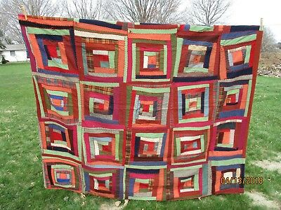 """Antique Crazy quilt wool decorative embroidery 70""""x 72"""""""