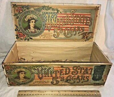 Antique United States Wood Cigar Box New Orleans Patriotic Flag Vintage Tobacco